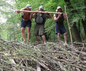 Humans and beavers do more to alter habitat than any other creatures...thankfully, we don't do our alterations with our teeth. Joe Cook, Mike McCarthy and David Wright clown atop a beaver dam.