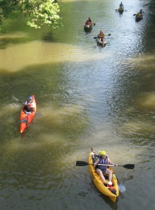 Paddle Georgia participants drift down the Coosawattee near Ellijay.