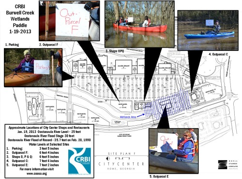 This diagram shows the proposed shopping center location along with specific sites examined during the Burwell Creek floodplain paddle on Jan. 19. Many of the locations examined were under seven feet of water.