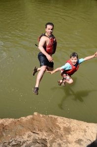 Taking the plunge into the Etowah River near Cartersville.